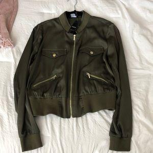 BEBE satin bomber jacket